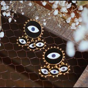 Black Evil Eye Drop Earrings